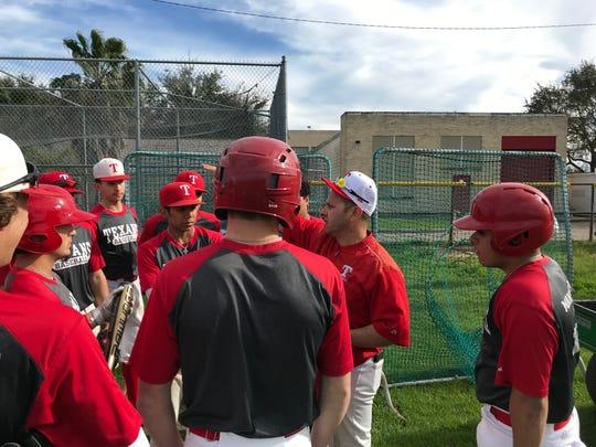 Ray head baseball coach Orlando Ruiz talks to his team prior to a practice on Feb. 12, 2019 at Ray High School.