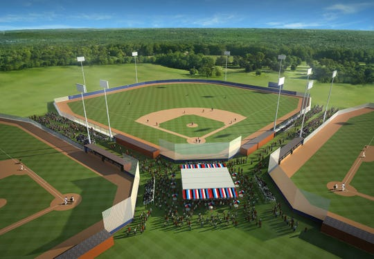 A rendering of one of the baseball/softball fields that would be built at a proposed multi-sports complex in Corpus Christi by SQH Sports & Entertainment Inc.