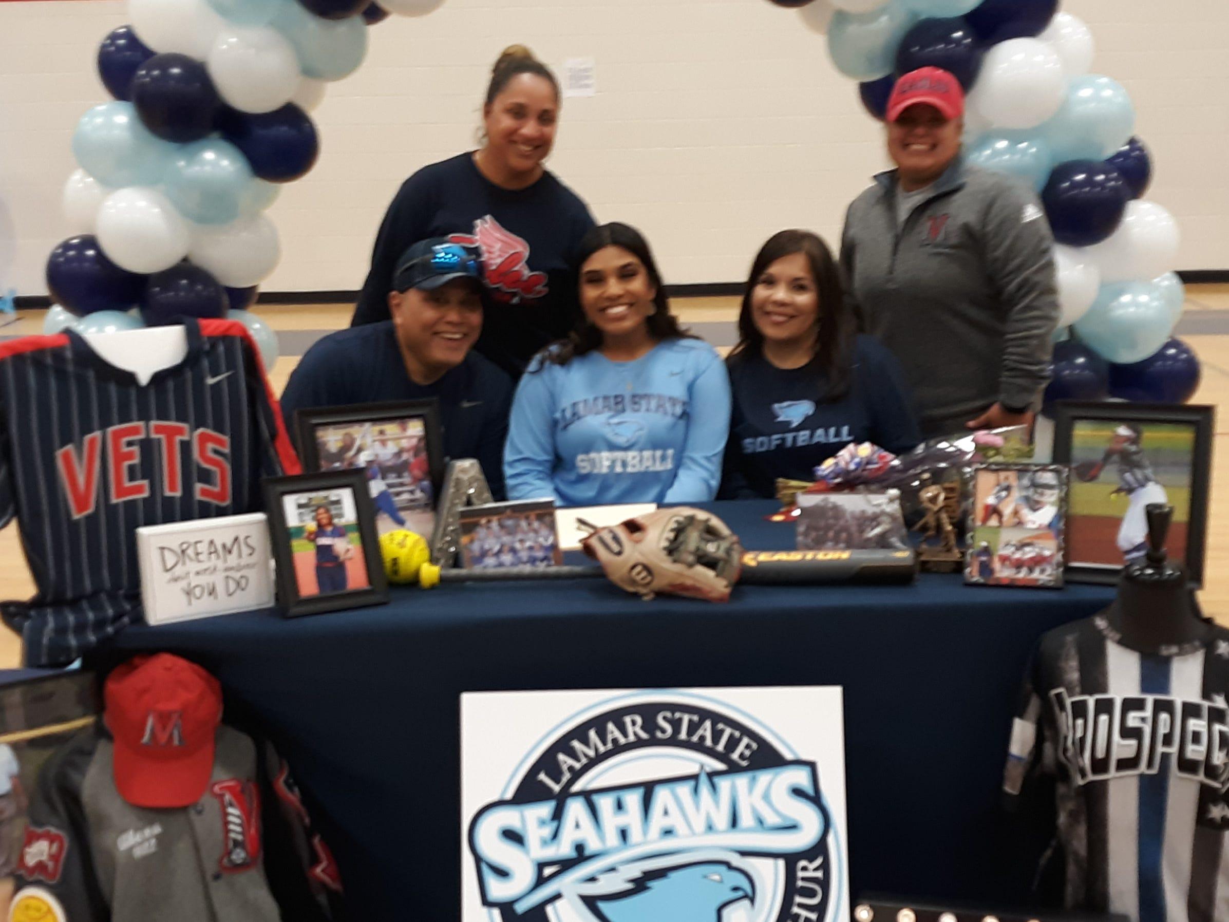 Veterans memorial softball player Alex Garza signed with Lamar State College-Port Arthur on Feb. 13.