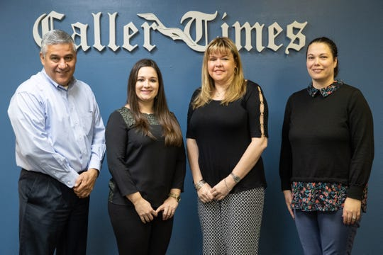 Tim Archuleta, Caller-Times editor; Clarissa Mora, executive director of the Children's Advocacy Center of the Coastal Bend; Alana Manrow, South Texas Lighthouse for the Blind; and Mary Ann Beckett, Caller-Times news director