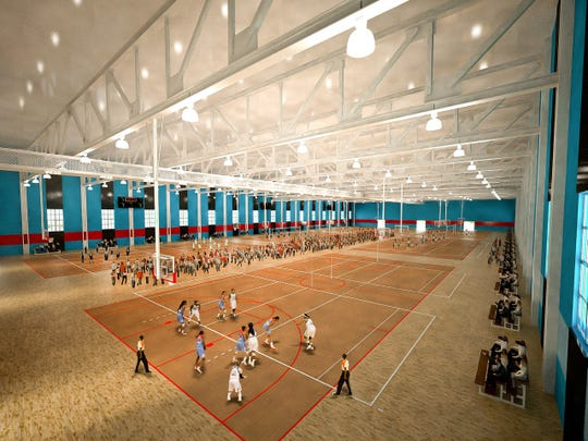 A rendering of basketball courts that would be built at a proposed multi-sports complex in Corpus Christi by SQH Sports & Entertainment Inc.
