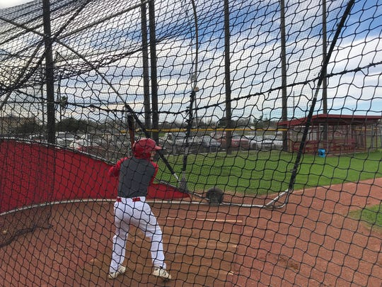 Ray senior baseball player Ronald Vasquez gets ready to hit during a practice at Ray High School on Feb. 12, 2019 in Corpus Christi, Texas.