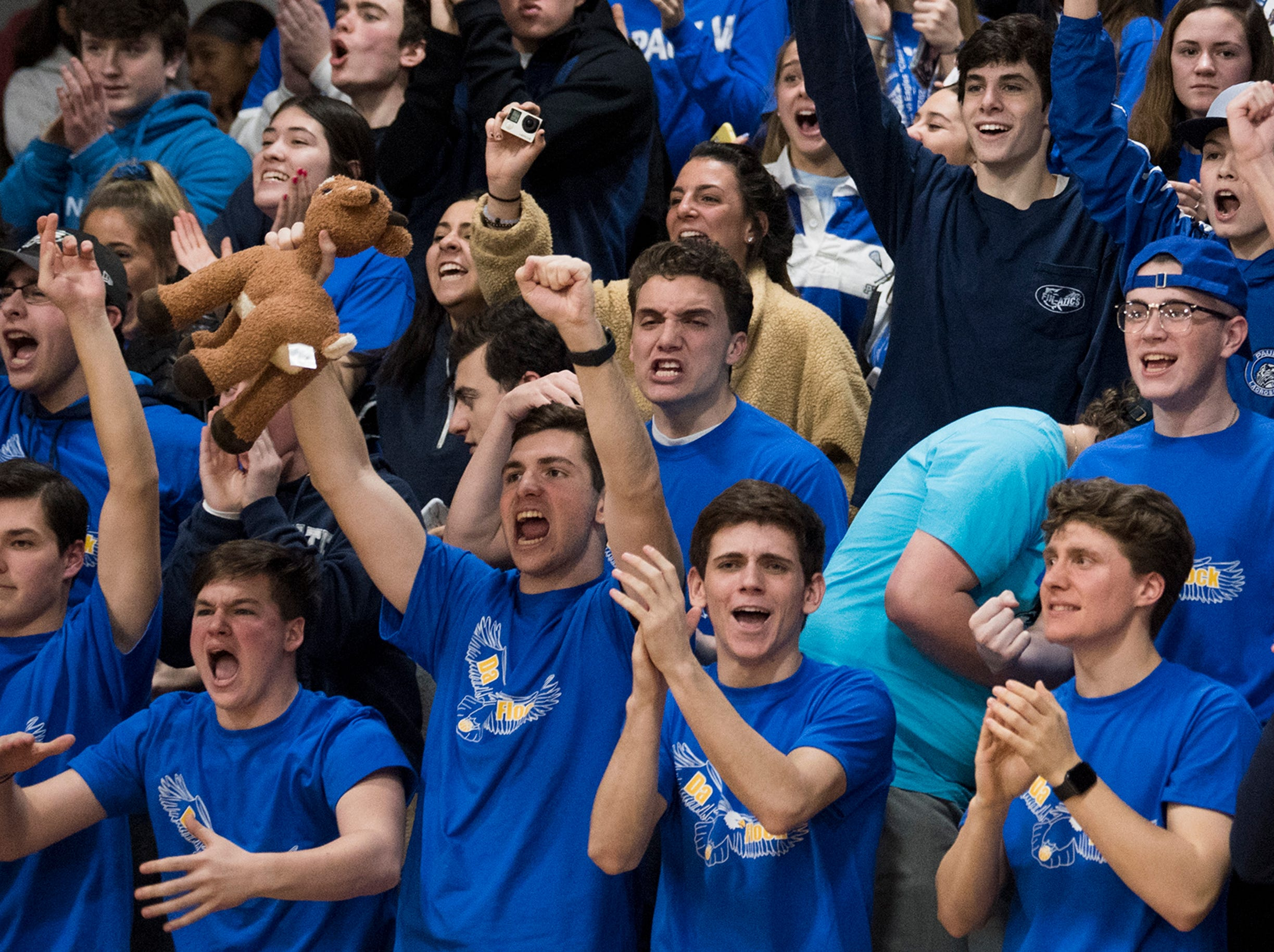 Paul VI fans cheer after a 45-43 win over Cherokee Tuesday, Feb. 12, 2019 in Haddonfield, N.J.