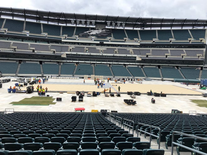 A crew of roughly 50 NHL employees plus 70 local laborers are tasked with putting a hockey rink in the middle of Lincoln Financial Field.