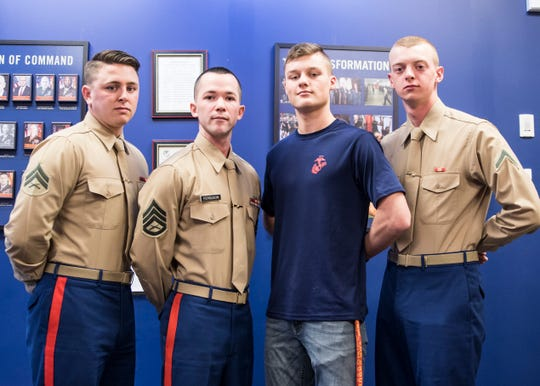 (L-R) Cpl. Cameron Davis, Staff Sgt. Robert Ferguson, poolee Landon Vanhoose, and Pfc. Jacob McCown talked about their experiences and benefits of becoming part of the U.S. Marine Corps.