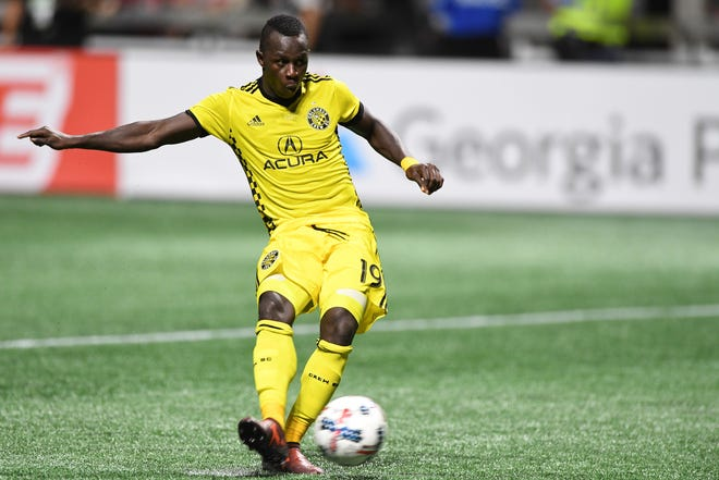 Columbus Crew forward Kekuta Manneh (19) kicks his shootout shot against the Atlanta United during the Eastern Conference knockout round soccer game at Mercedes-Benz Stadium. The Columbus Crew won in a 3-1 shootout.