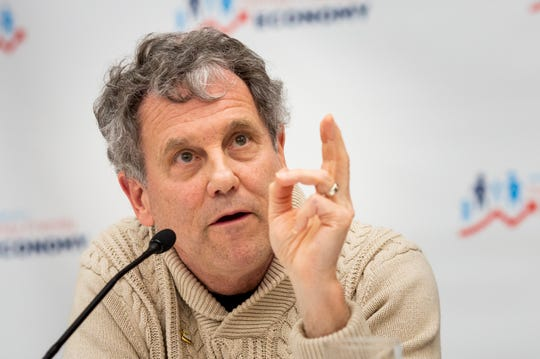 Senator Sherrod Brown answers a question during a roundtable with Campaign For A Family Friendly Economy in a lecture hall at Winnacunnet High School in Hampton, N.H. Friday, February 8, 2019. Brown is considering a presidential run in 2020.