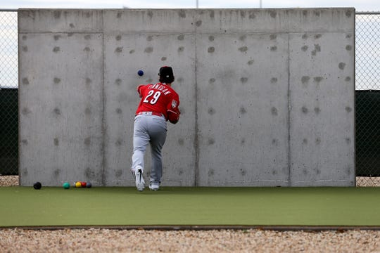 Cincinnati Reds pitcher Brandon Finnegan (29) works out on the side, Wednesday, Feb. 13, 2019, at the Cincinnati Reds spring training facility in Goodyear, Arizona.