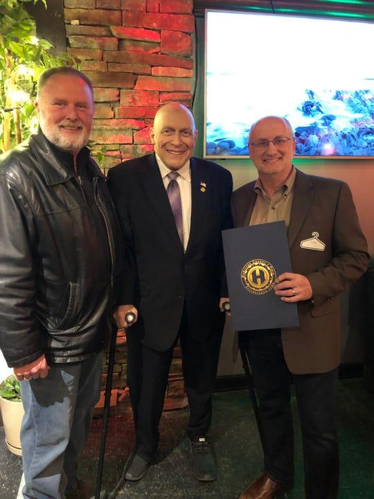 Cheviot Mayor Sam Keller, Hamilton County Commissioner Todd Portune, & Ray Kroner.