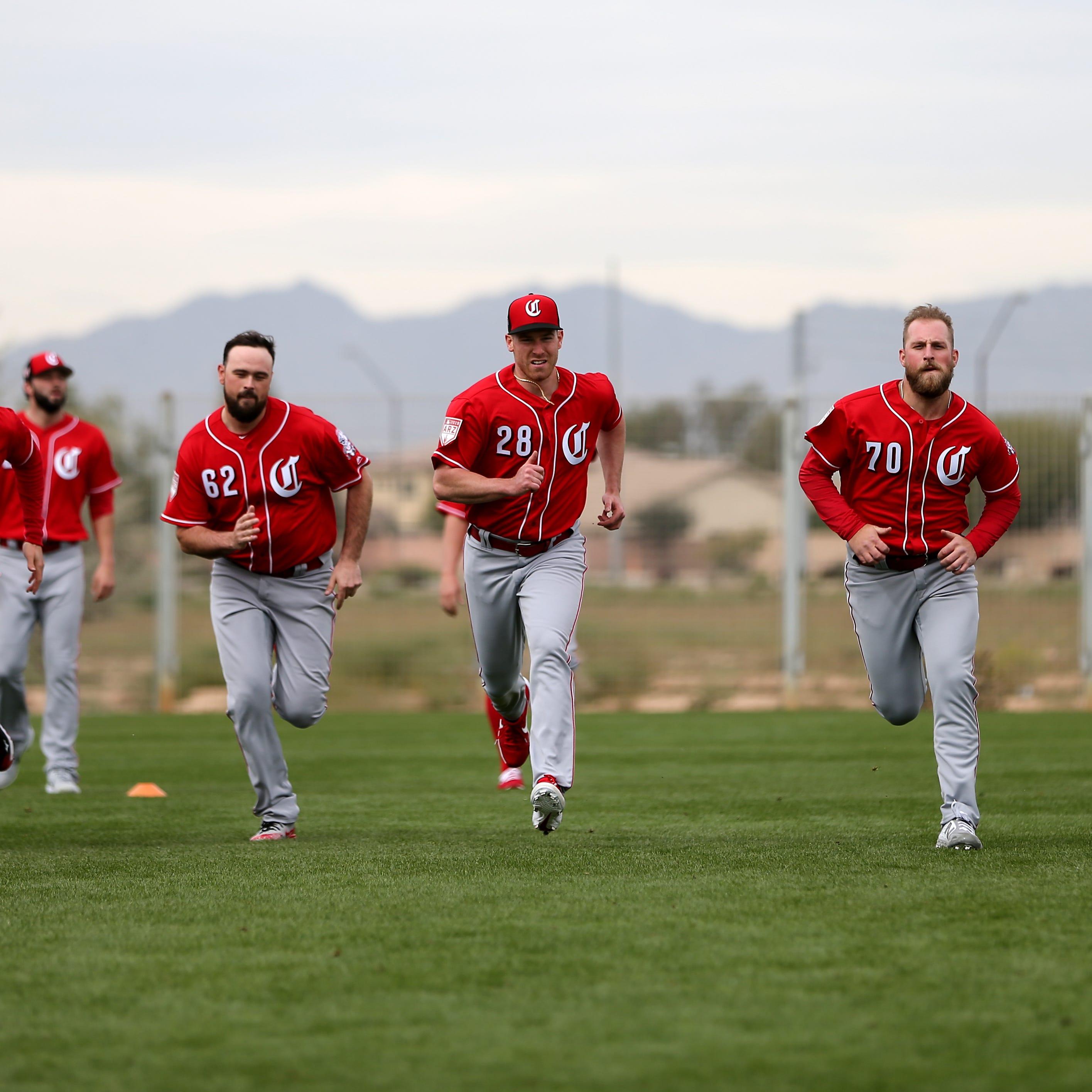 From left: Cincinnati Reds pitchers Matt Bowman,...