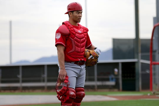 Cincinnati Reds catcher Connor Joe (17) waits his turn during drills, Wednesday, Feb. 13, 2019, at the Cincinnati Reds spring training facility in Goodyear, Arizona.