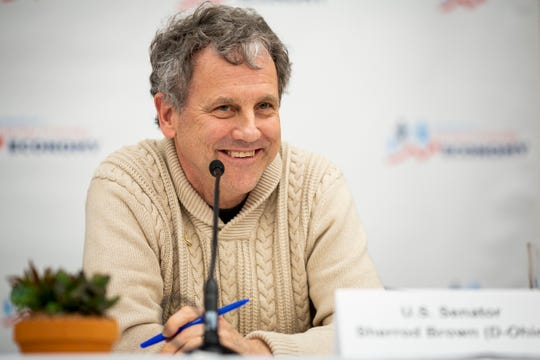 Senator Sherrod Brown listens to a question during a roundtable with Campaign For A Family Friendly Economy in a lecture hall at Winnacunnet High School in Hampton, N.H. Friday, February 8, 2019. Brown is considering a presidential run in 2020.