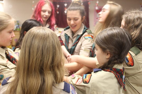 Clarksville's first all-girl Scout BSA Troop 21 plays a teamwork game at their meeting on February 12, 2019.