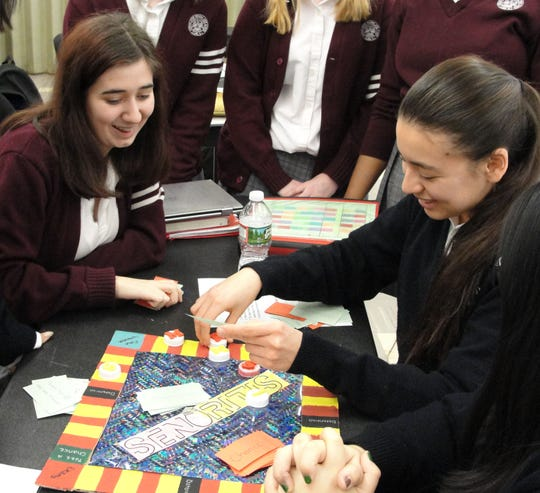 Game designs at Mother Seton. Left to right: Megan Prendergast and Andrea Rojas.