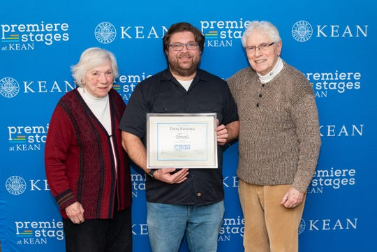 Kean University alumnus Tariq Hamami (center) received the 2019 Bauer Boucher Playwriting Award, named for longtime Premiere Stages donors Nancy Boucher (left) and W. John Bauer (right).