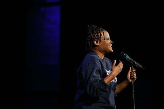 Antoinette Stevens tells her story during the Des Moines Register Storytellers Project at Hoyt Sherman Place on Tuesday, Feb. 12, 2019, in Des Moines.
