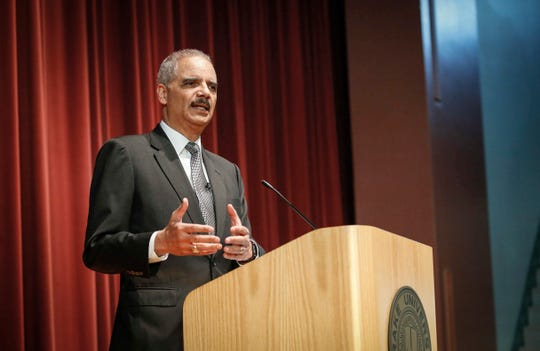 Former United States Attorney General Eric Holder spoke to law students and answered questions during a public lecture at Sheslow Auditorium at Drake University in Des Moines on Tuesday, Feb. 12, 2019.