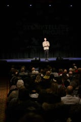 Pete Holmgren speaks during the Des Moines Register Storytellers Project at Hoyt Sherman Place on Tuesday, Feb. 12, 2019, in Des Moines.