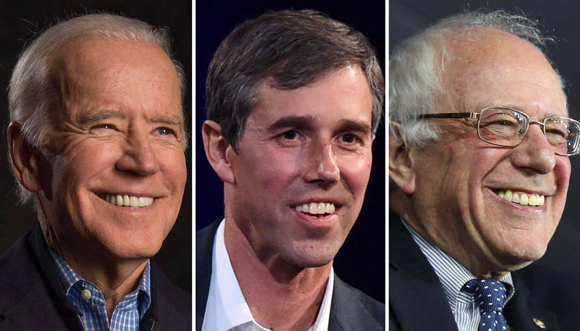 Joe Biden, Beto O'Rourke and Bernie Sanders
