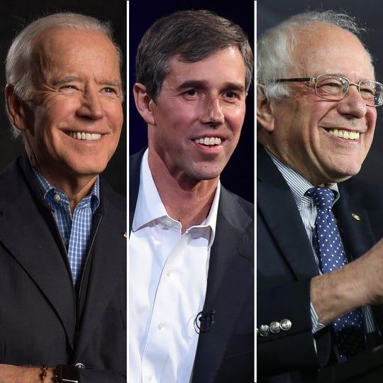 Joe Biden, Beto O'Rourke y Bernie Sanders
