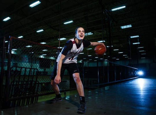 Dowling Catholic's Caitlin Clark poses for a photo during practice on Wednesday, Feb. 13, 2019 in Des Moines. Clark is considered one of the best girls' basketball players in recent Iowa history.