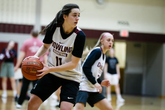 Dowling Catholic's Caitlin Clark runs a drill during practice on Wednesday, Feb. 13, 2019 in Des Moines. Clark is considered one of the best girls' basketball players in recent Iowa history.