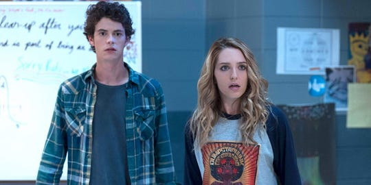 "Israel Broussard and Jessica Rothe  in ""Happy Death Day 2U."""