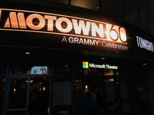 "The marquee of the Microsoft Theater in Los Angeles touting ""Motown 60: A Grammy Celebration"" on Feb. 12, 2019."