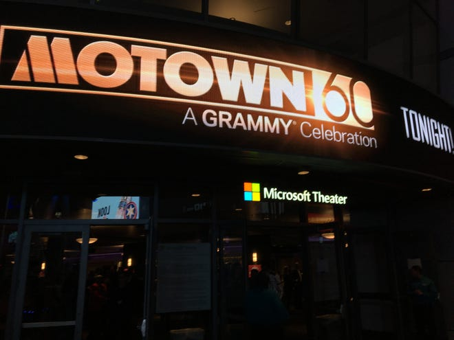 """The marquee of the Microsoft Theater in Los Angeles touting """"Motown 60: A Grammy Celebration"""" on Feb. 12, 2019."""