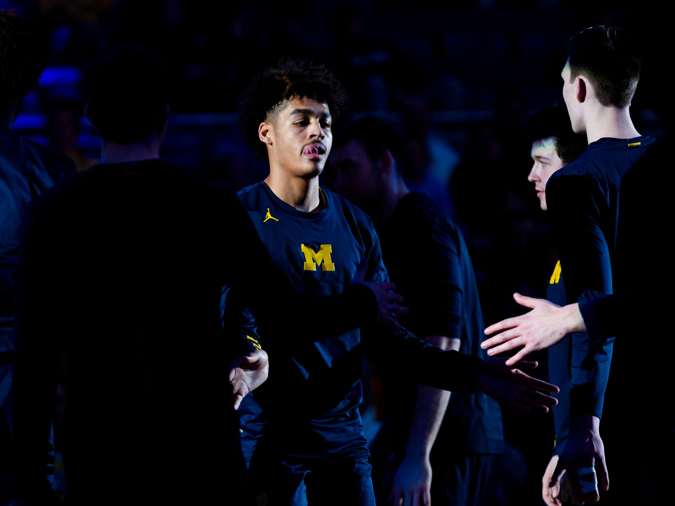Michigan guard Jordan Poole during player introductions prior to the game against Penn State, Tuesday, Feb. 12, 2019, in State College, Pa.