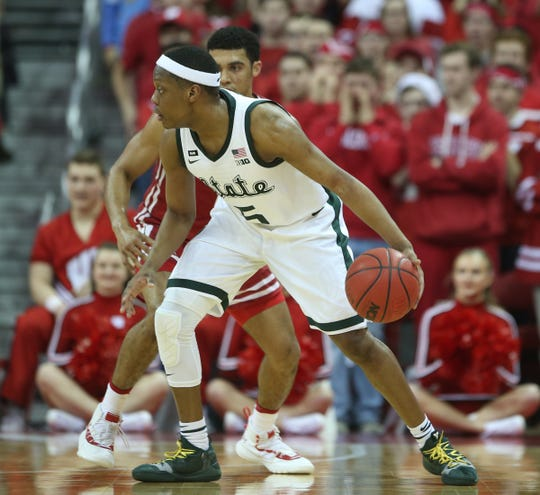 Cassius Winston dribbles against Wisconsin on Tuesday.