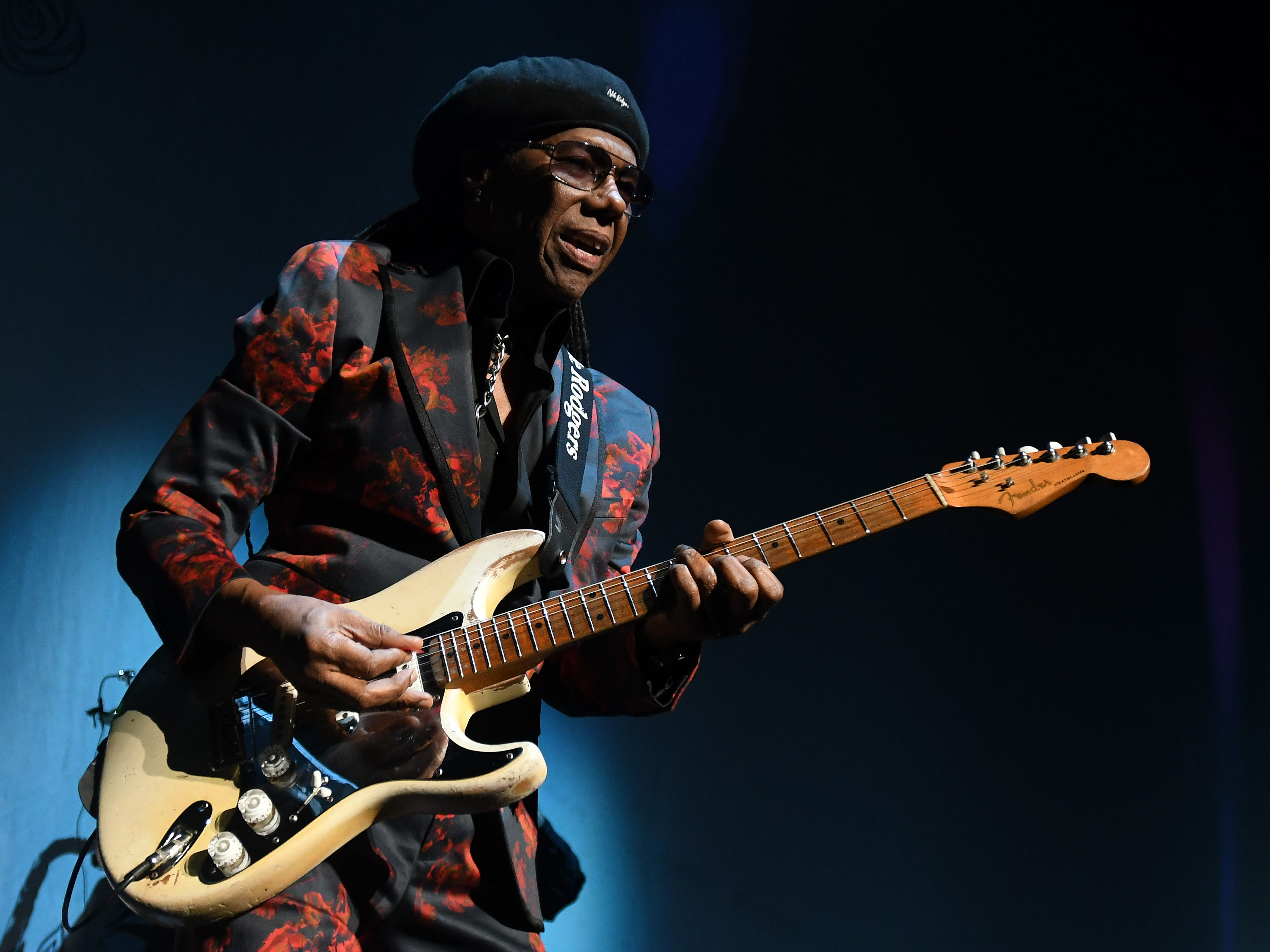Lead guitar and vocals Nile Rodgers of Chic gets the crowd dancing before Cher takes the stage at Little Caesars Arena in Detroit.
