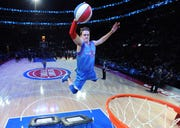 Chad of the Pistons Extreme Team performed during a timeout in the fourth quarter.