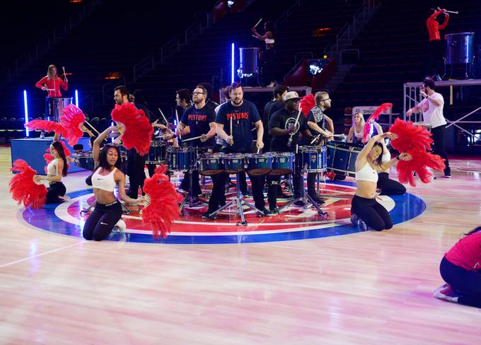 Pistons Dancers and the Drumline team practice their halftime performance before the game with the Washington Wizards on Monday, Feb. 11, 2019, at Little Caesars Arena in Detroit.