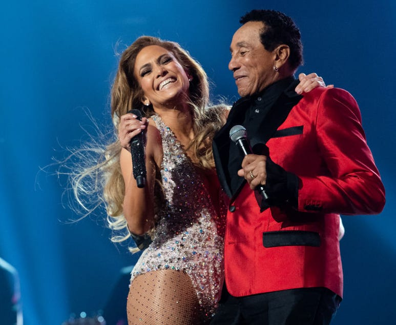 Jennifer Lopez and Smokey Robinson perform onstage at the 61st annual GRAMMY Awards at Staples Center on February 10, 2019 in Los Angeles, California.