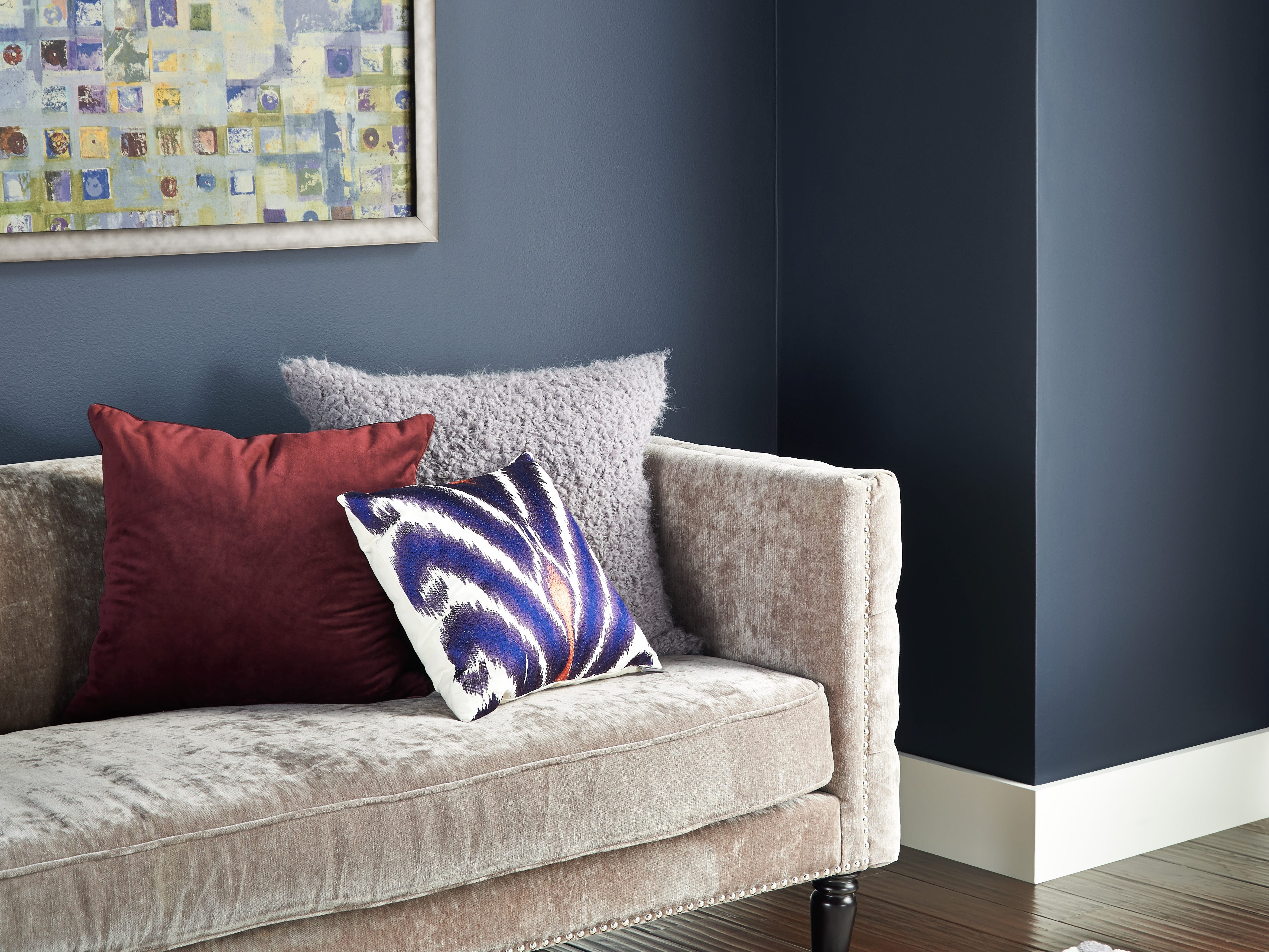 "Dark blue hues such as Starless Night ""historically have been a color people are comfortable with,"" says Behr's color expert Erika Woelfel. ""Think of denim or a jean jacket."""