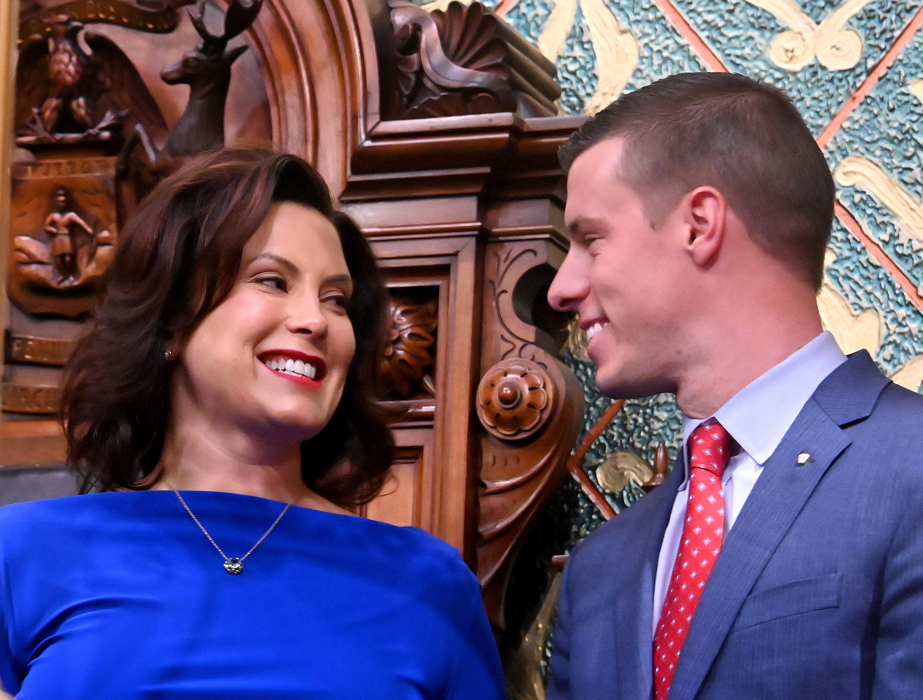 Gov. Gretchen Whitmer with Speaker of the House Lee Chatfield before her State of the State speech.