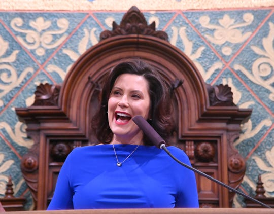 Gov. Gretchen Whitmer told the crowd she wants to expand LGBTQ rights in Michigan.