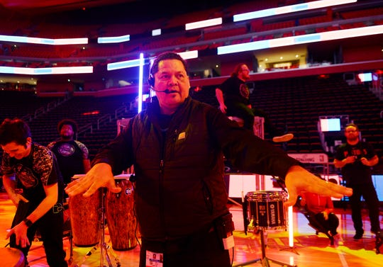 Shawn Martinez, entertainment director for the Detroit Pistons, directs the rehearsal for the halftime entertainment for Monday's game against the Washington Wizards.