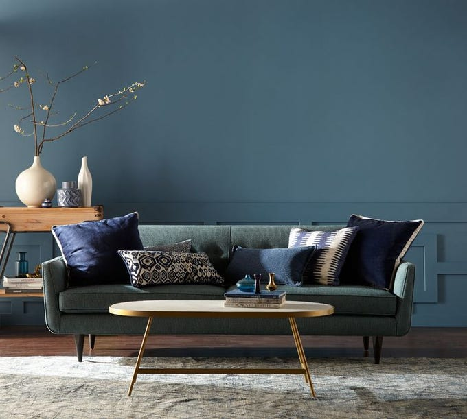 """Blueprint, Behr's 2019 Color of the Year, makes an """"authentic, unassuming statement,"""" says the retailer. """"But when paired with other colors, it can add depth and variety, or behave like a neutral to anchor bolder palettes."""""""
