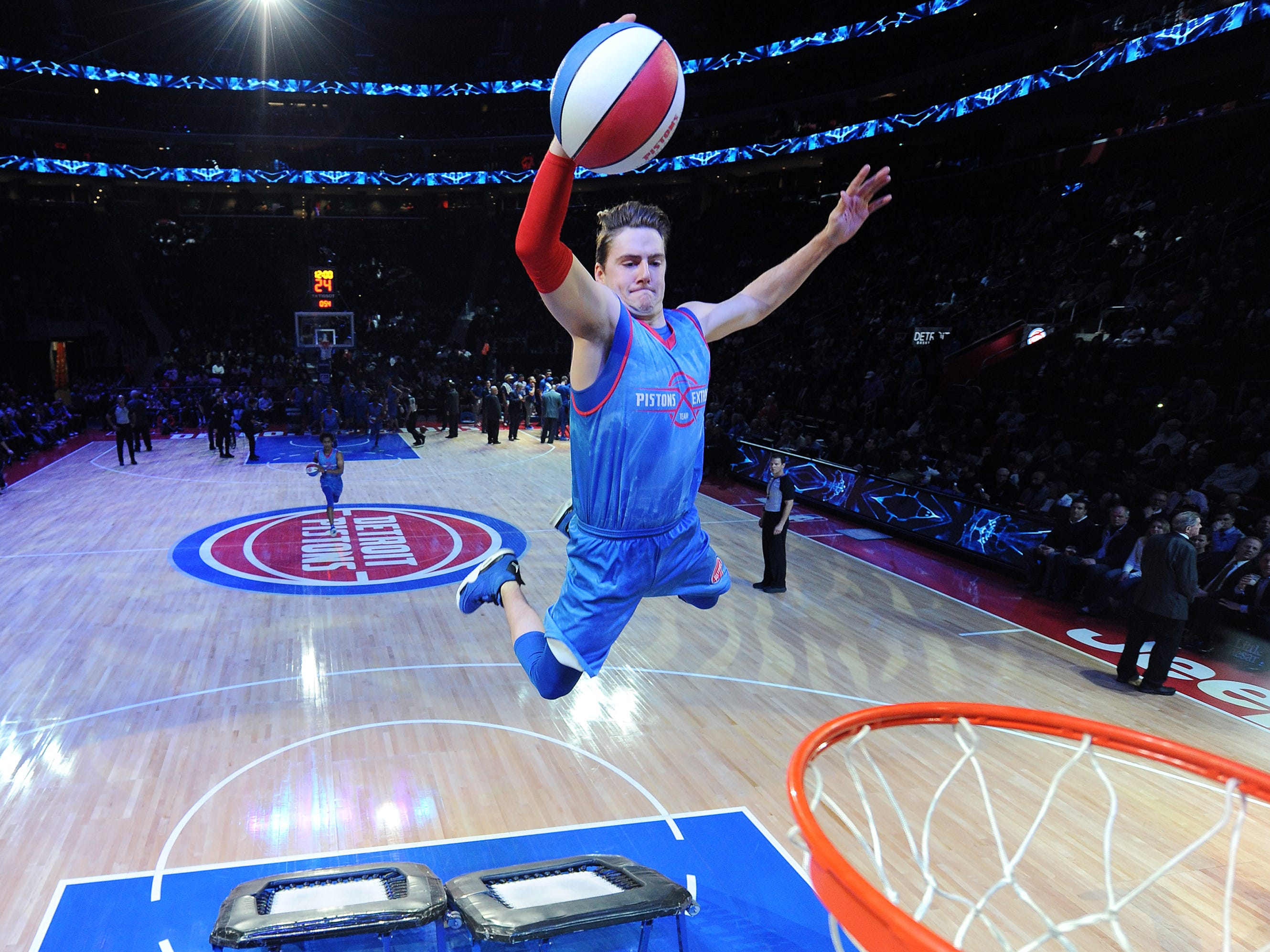 Chad of the Pistons Extreme Team performed during a time-out in the fourth quarter.