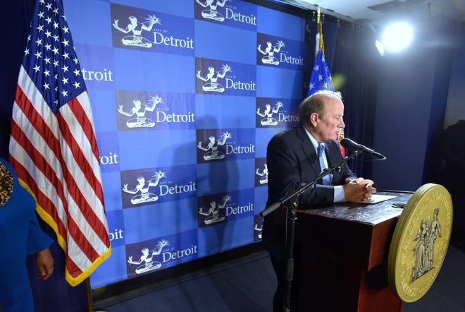 Mayor Mike Duggan addresses the media on Wednesday in Detroit.