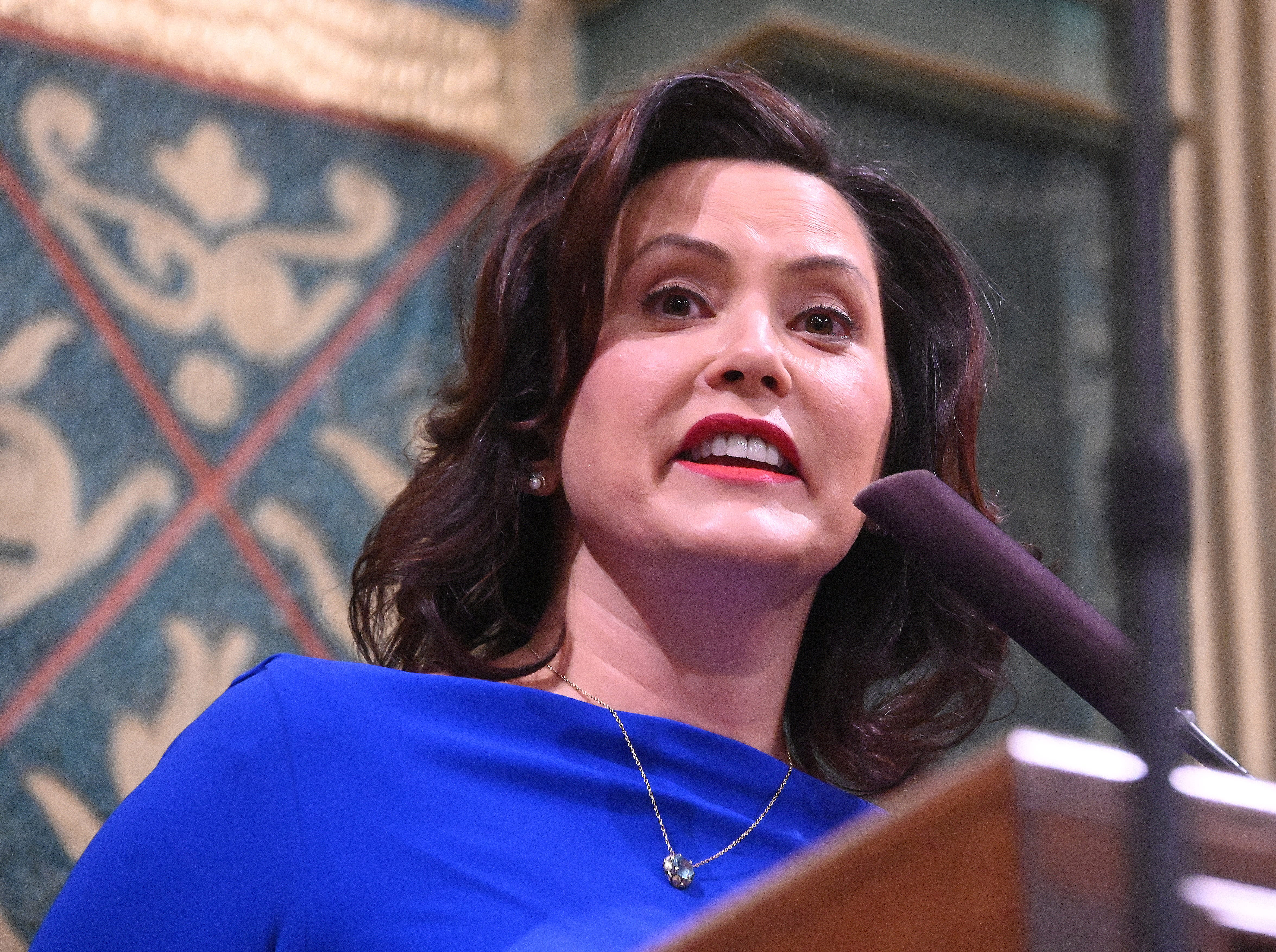 Gov. Gretchen Whitmer delivers her State of the State speech to the combined chamber Tuesday evening, Feb. 12, 2019, at the Capitol in Lansing.