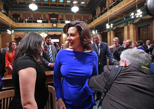 Gov. Gretchen Whitmer arrives to deliver her first State of the State speech.