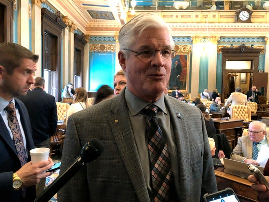 Senate Majority Leader Mike Shirkey, R-Clarklake, speaks with reporters following the Senate session on Wednesday, Feb. 13, 2019, in Lansing,