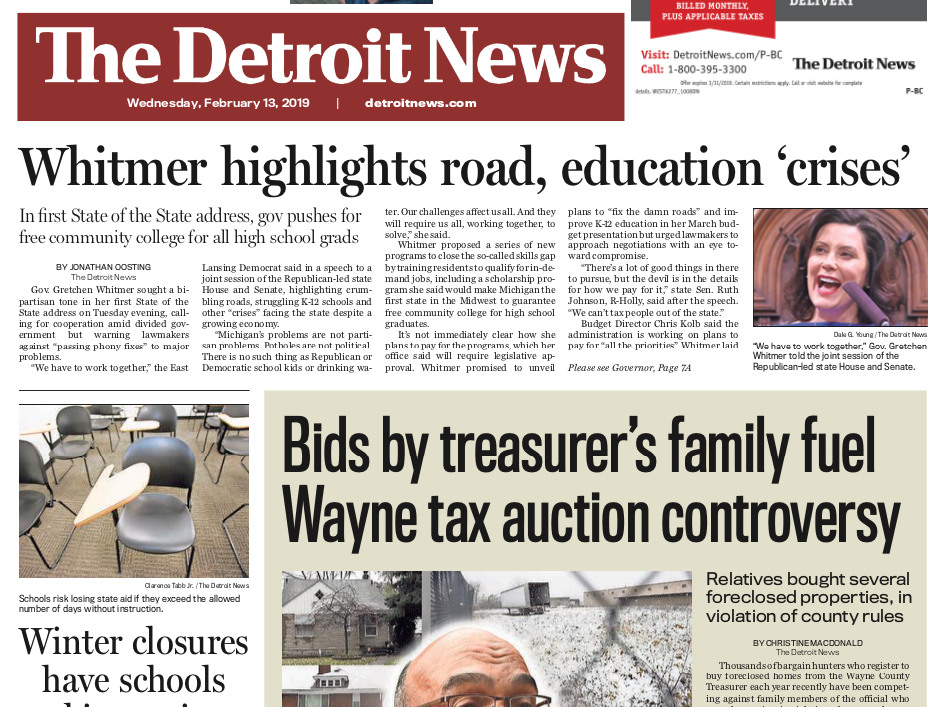 The front page of the Detroit News on Wednesday February 13, 2019