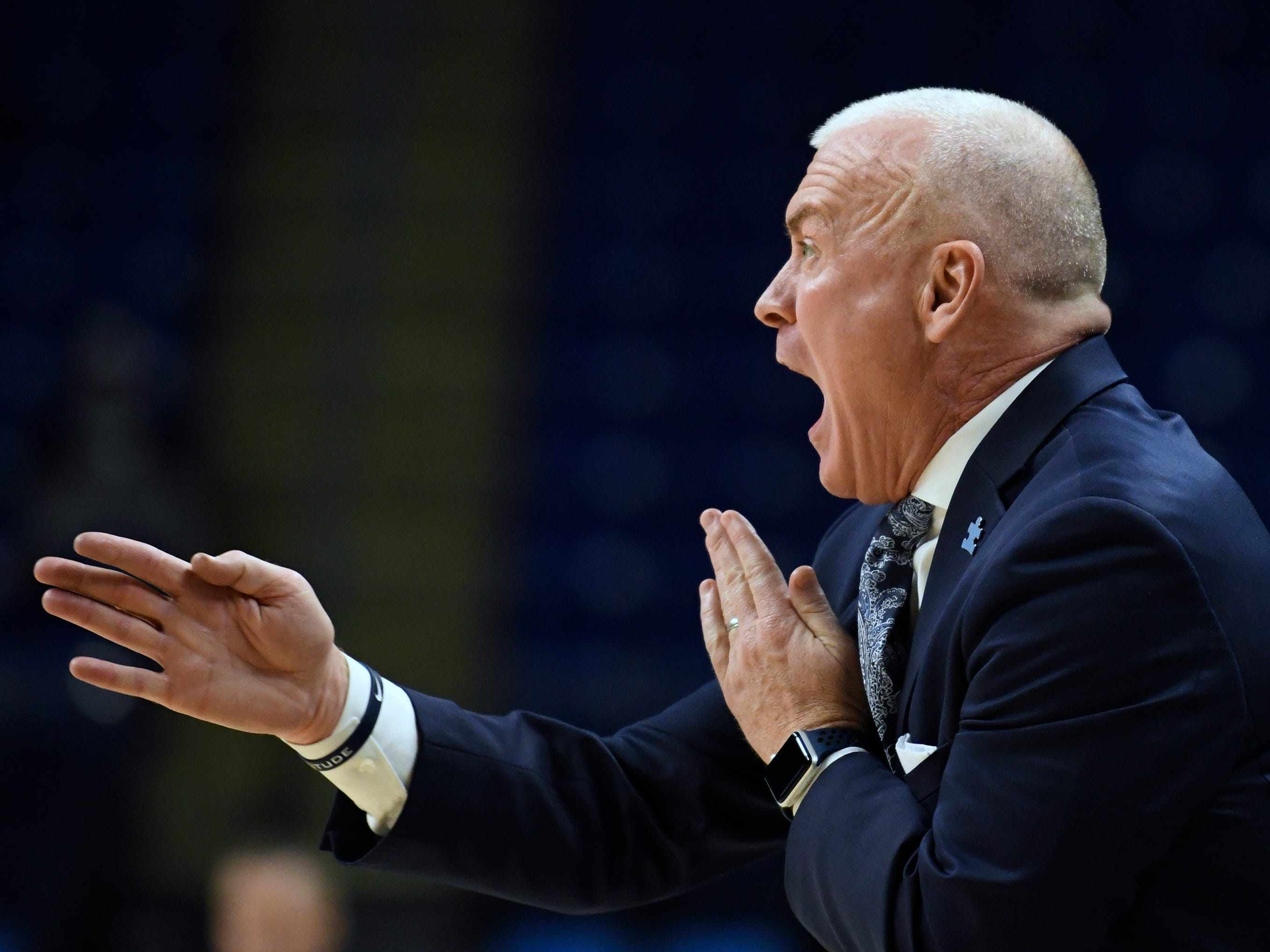 Penn State head coach Patrick Chambers instructs his team during the second half.