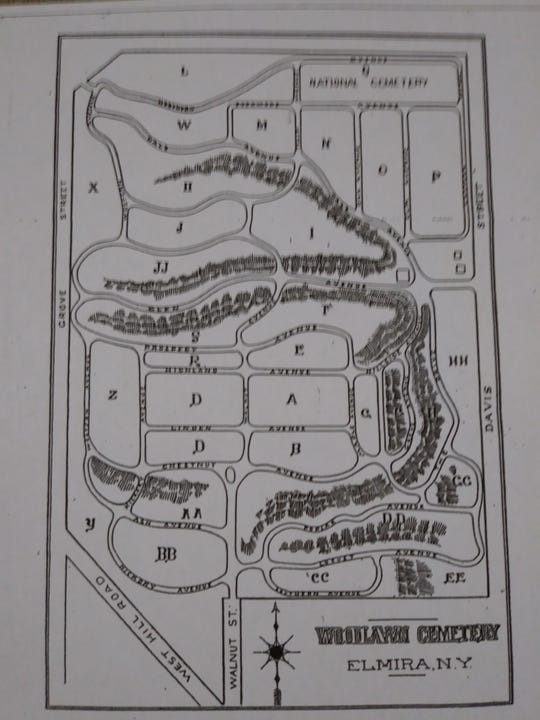 A map of Woodlawn Cemetery from 1881.