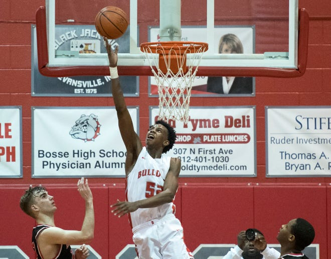 Bosse junior Kiyron Powell hits a reverse layup in the Bulldogs' 74-56 victory over Harrison on Feb. 12. He received offers from Creighton and Houston, increasing his overall number to nine.