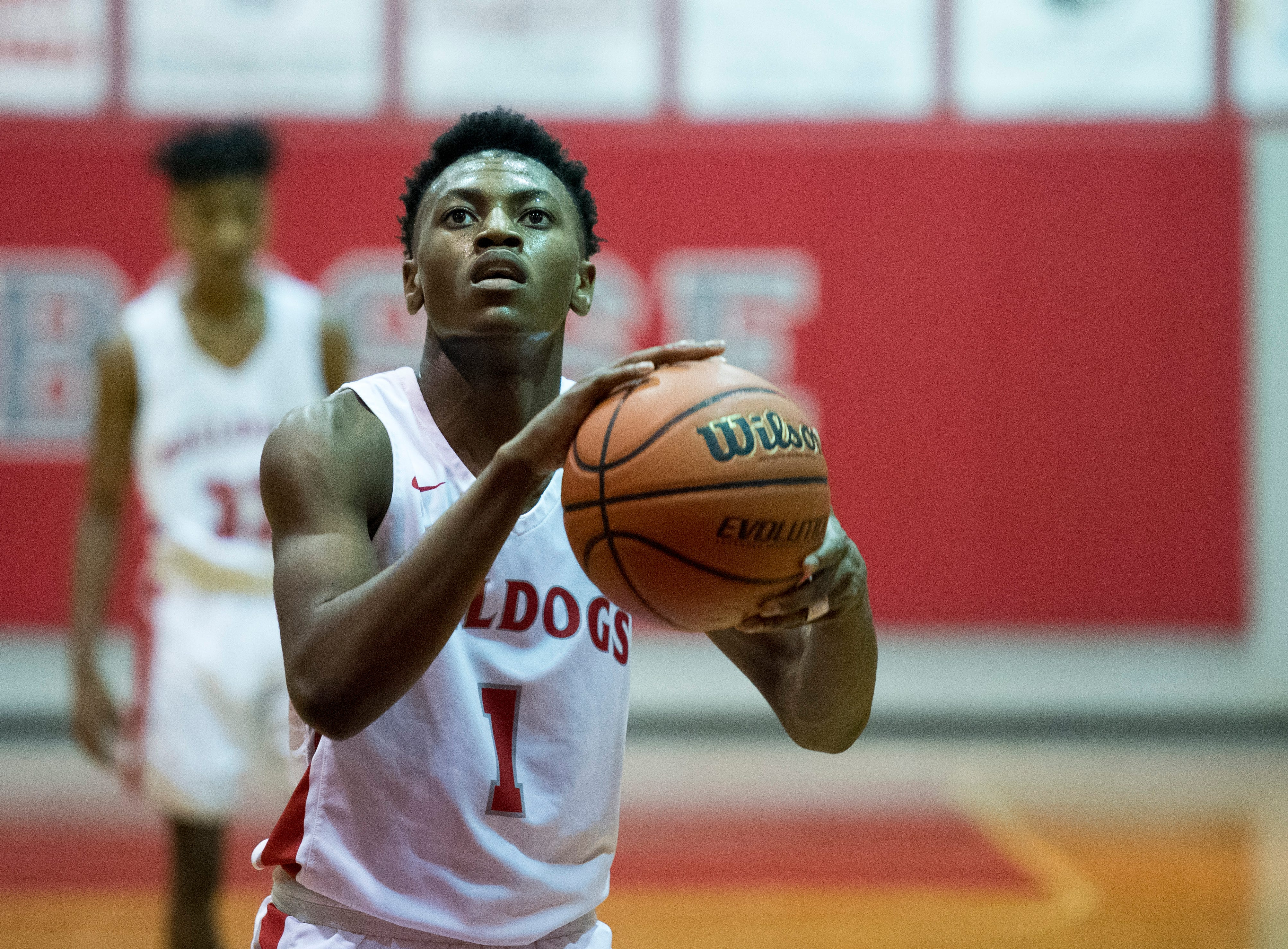 Bosse's Ty'ran Funches (1)  takes a free shot during the Harrison vs Bosse game at Bosse High School Tuesday, Feb. 12, 2019.